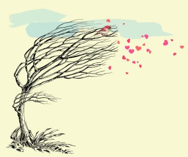 Love bird and tree without leaves in the wind. Valentine's Day c