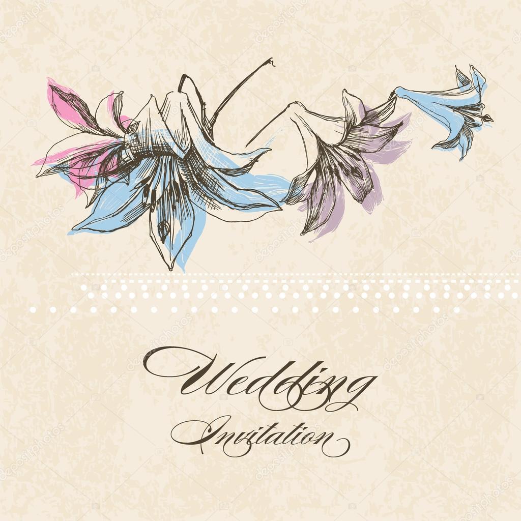 Faire Part De Mariage Decoration De Fleur De Lys Image