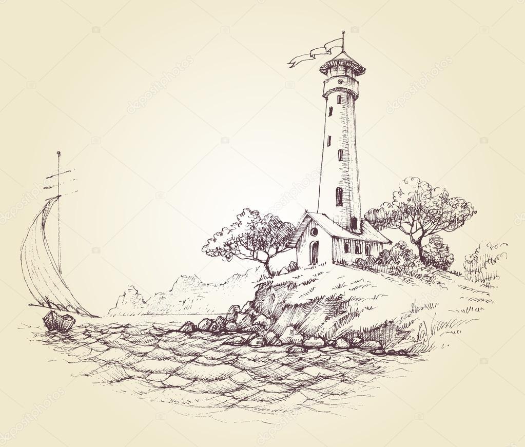 Faro disegno vettoriale vista sul mare e barca a vela in for Disegno paesaggio marino