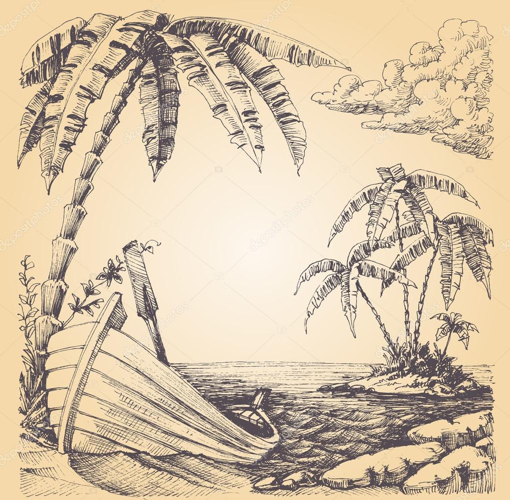 Boat on sea shore, tropical island and palm tree