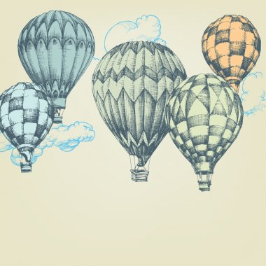 Hot air balloons in the sky background clip art vector
