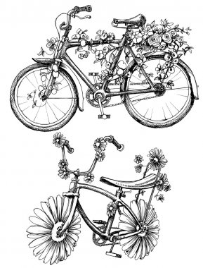 Bikes with flowers drawings set