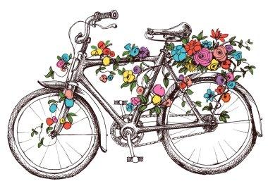 """Картина, постер, плакат, фотообои """"велосипед с цветами, элемент дизайна для свадебных приглашений цветы орхидеи подсолнухи сакура"""", артикул 86659324"""
