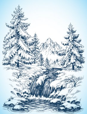 Winter snowy landscape, pine forest and river in the mountains