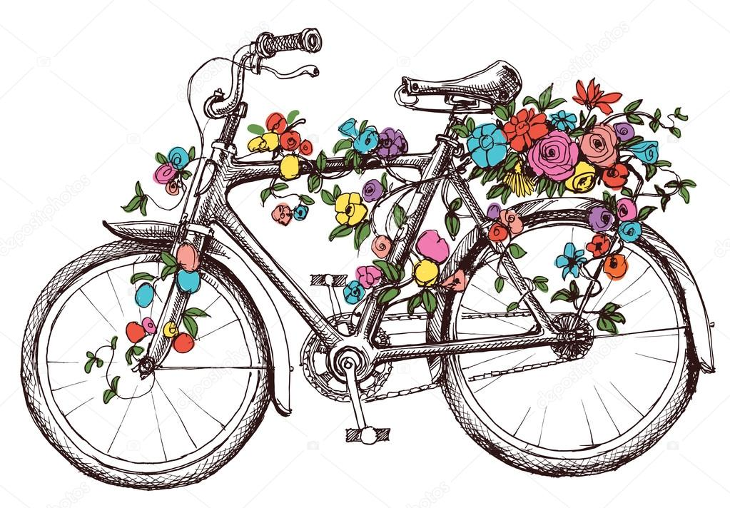Bike with flowers, design element for wedding invitations