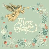 Retro vánoční pozdrav card, angel a sněhové vločky rám