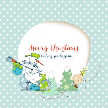 Christmas card, funny snowman delivering gifts and space for text frame stock vector