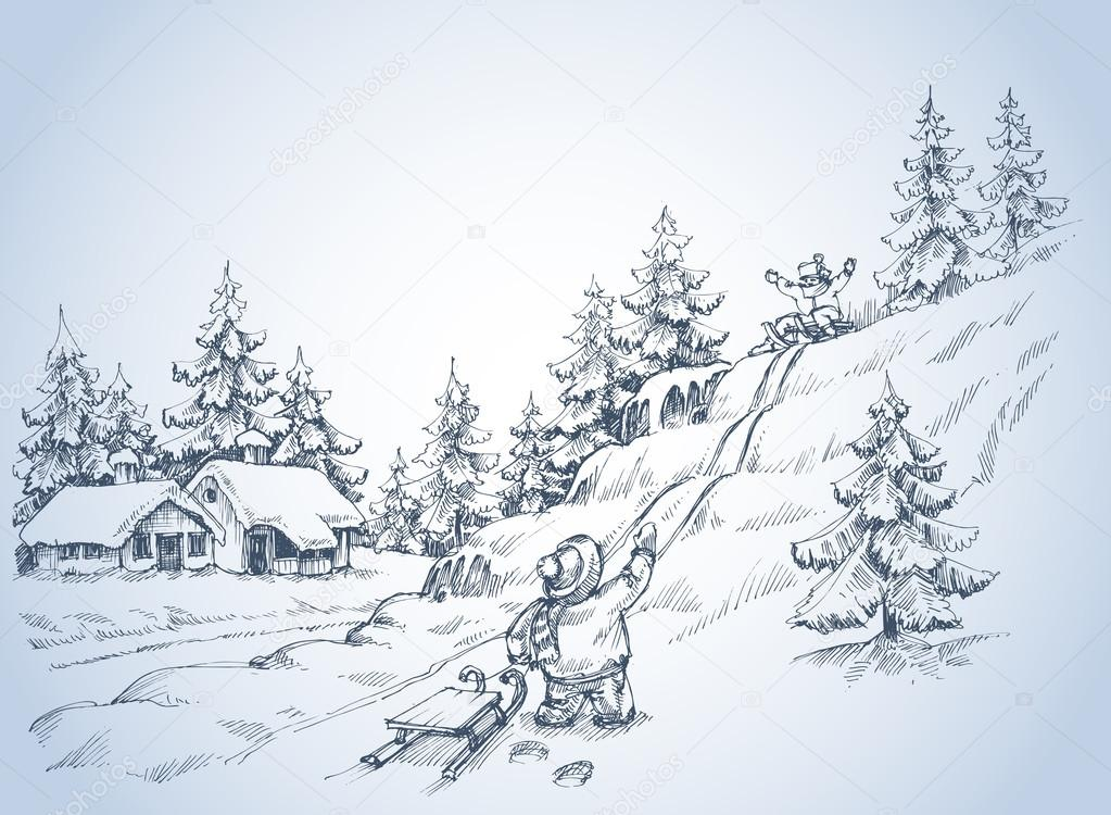 Winter background drawing