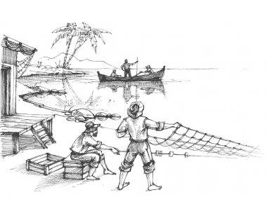 Fishermen at work sketch