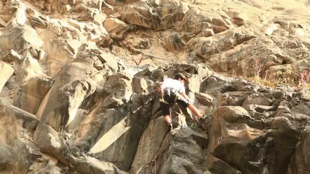 Rock Climber On Basalt Rock