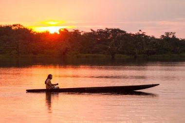 Cuyabeno Ecuador Sunset With Canoe
