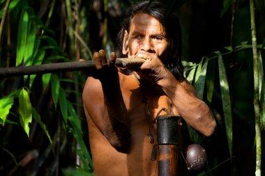 Huaorani Indigenous Hunter In Amazon Basin