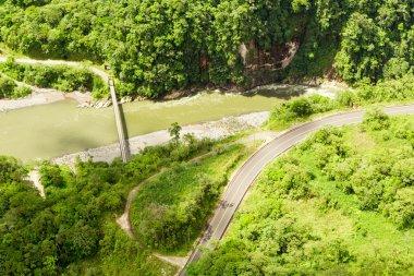 Pastaza River And Panamericana Road Aerial Shot
