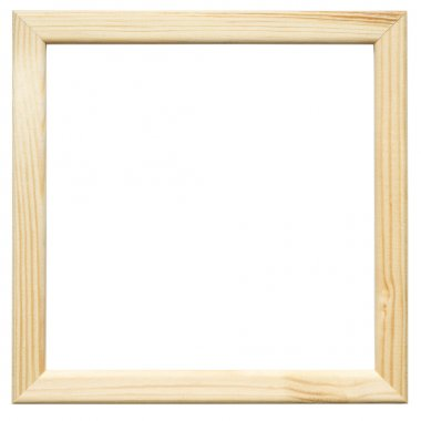 Light square wooden picture frame on the white background stock vector