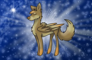 magic wolf with wings in universe
