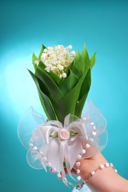 bunch of lily of the valley for the first holy  communion