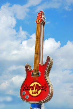 famous guitar - symbol of Hard Rock Cafe in the center of Warsaw