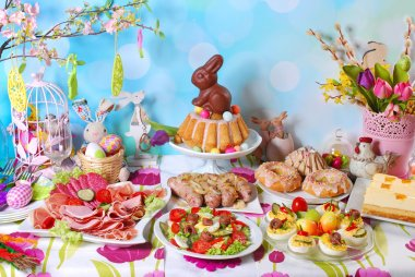 traditional easter breakfast on festive table