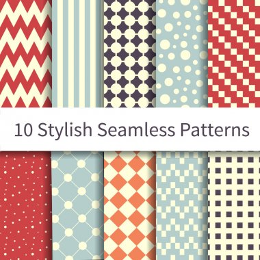 10 Geometric Fashion different vector seamless patterns, tiling. Endless texture can be used for wallpaper, pattern fills, web page background, textures. Set of monochrome geometric ornaments. stock vector