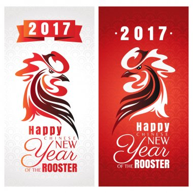 Chinese new year greeting cards with rooster