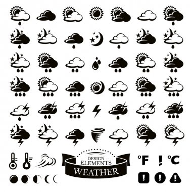 Collection of different weather icons vector illustration clip art vector