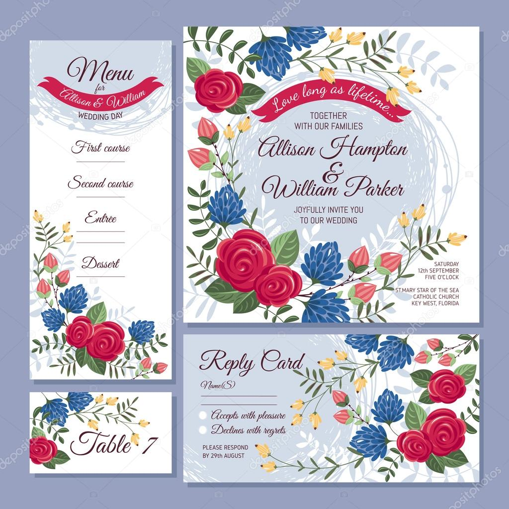 Blumen Hochzeit Karten Stockvektor C Selenamay 80401772