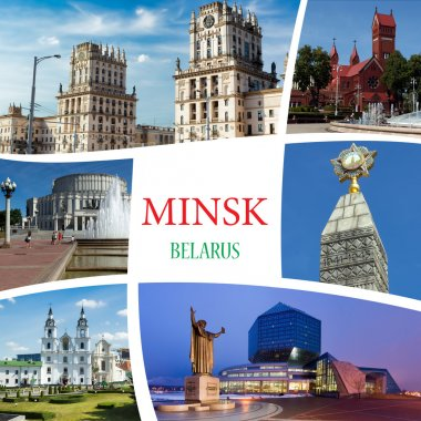 Collage of photos from Minsk. Belarus