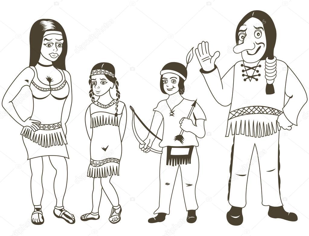 Familia indígena que se describe — Archivo Imágenes Vectoriales ...