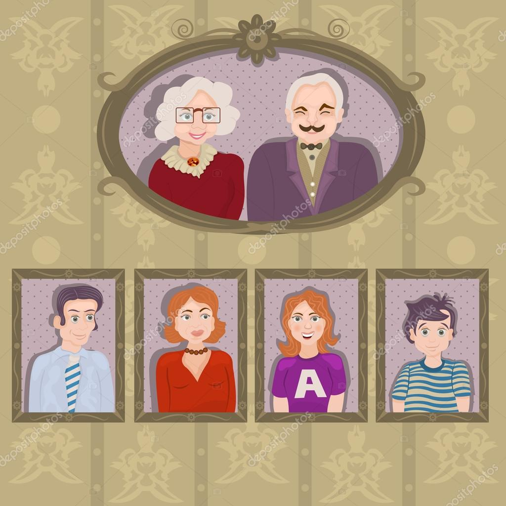 Retratos de la familia en marcos — Archivo Imágenes Vectoriales ...