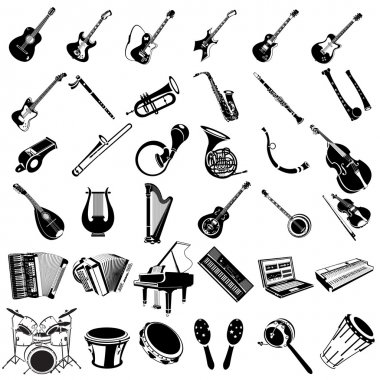 Great collection of different music instrument black icons. clip art vector