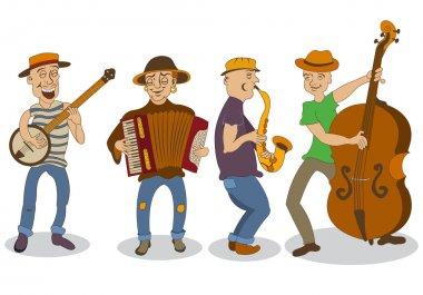 cartoon street musicians