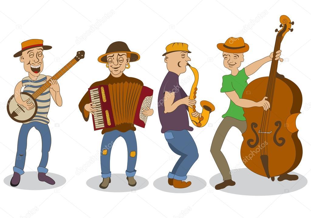 Dessin anim de musiciens de rue image vectorielle - Dessin musicien ...