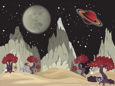 Retro space landscape vector