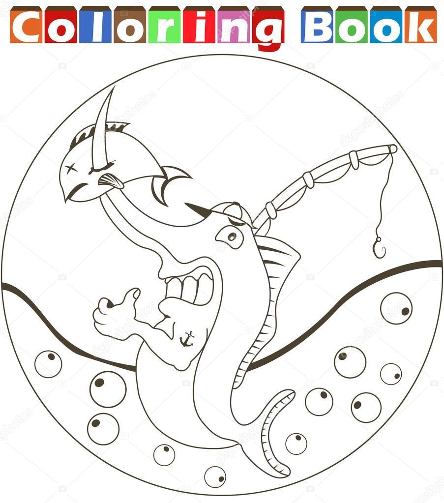 çizgi Film Kılıçbalığı Boyama Kitabı Stok Vektör Stiven 97429720
