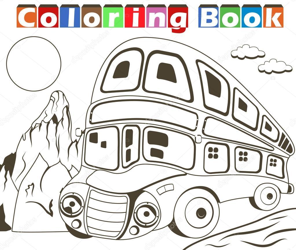 çift Katlı Otobüs Boyama Kitabı Stok Vektör Stiven 97430562