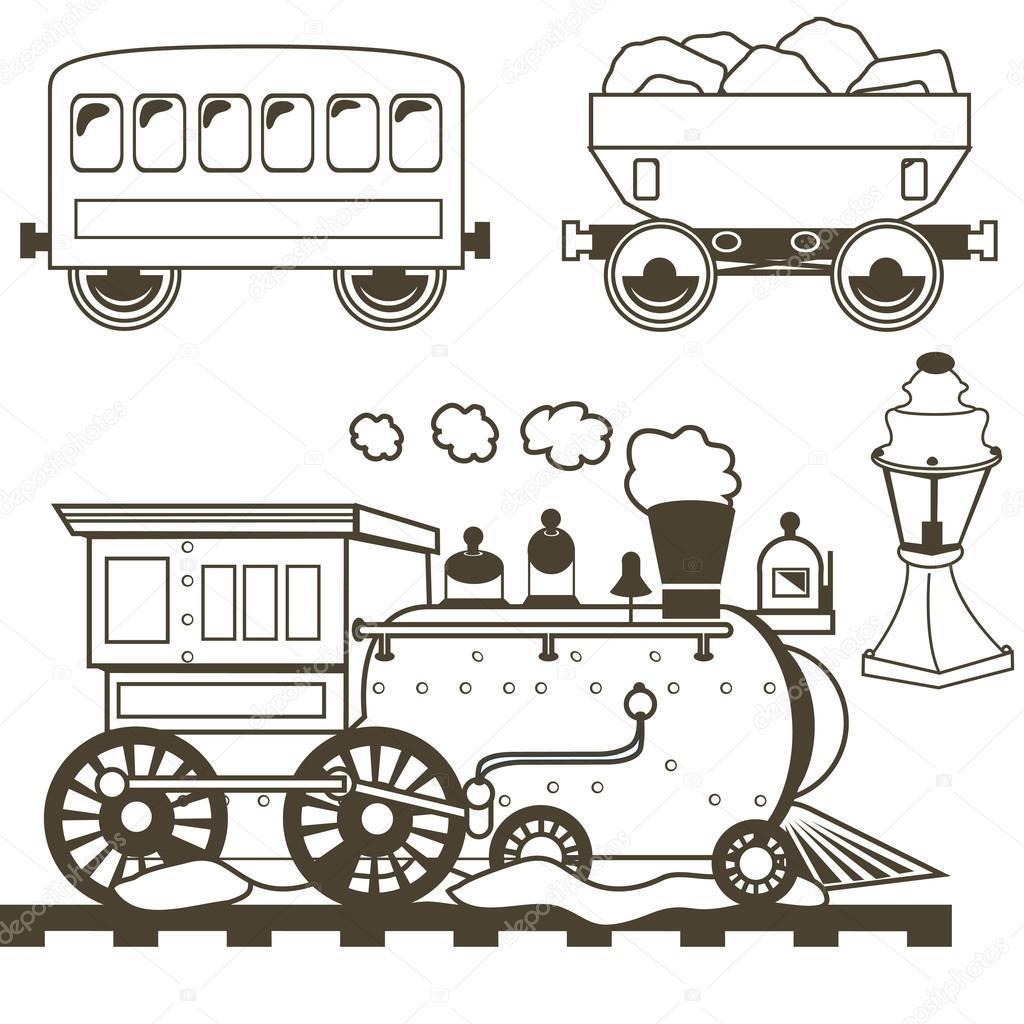 özetlenen Eski Batı Tren Stok Vektör Stiven 99874246