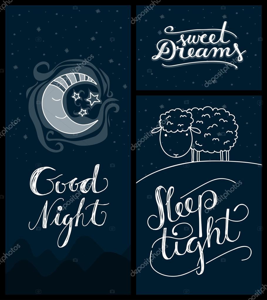 Good Night Sweet Dreams Sleep Tight Banners Stock Vector