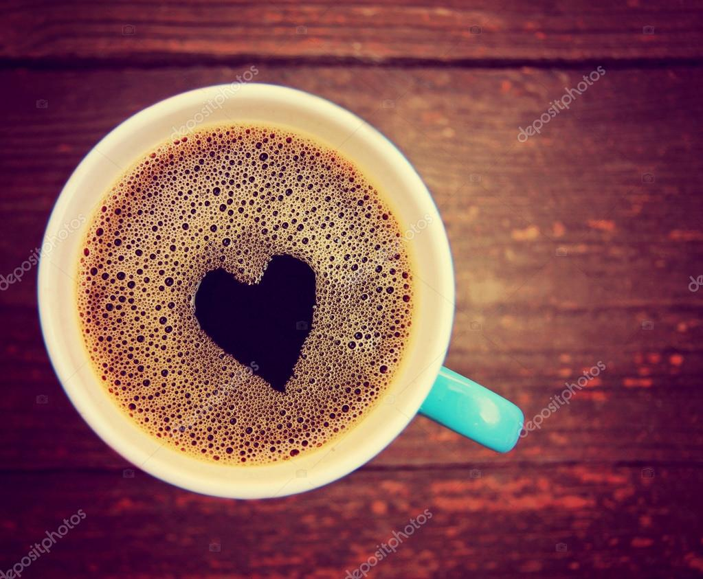 Cup Of Coffee With Heart Shape Stock Photo