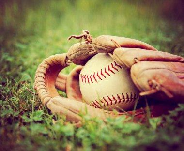 Baseball in old glove
