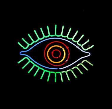 Glowing neon eye sign