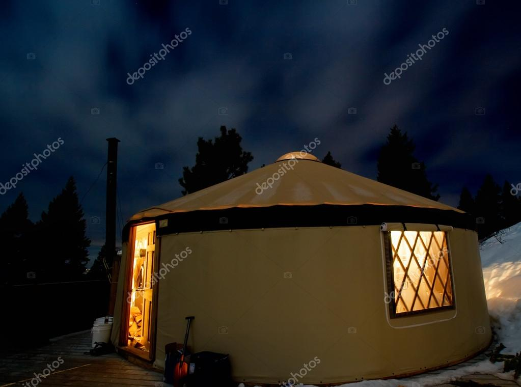 Yurt in the snowy mountains