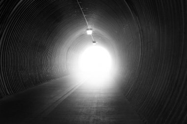 Black and white tunnel with lighting