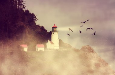 Lighthouse with flock of birds