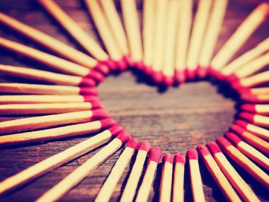Matchsticks in shape of heart