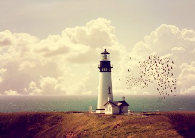 Lighthouse on ocean coastline
