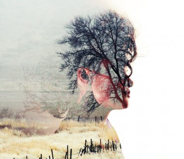 A serious looking woman side profile toned with vintage tones for a retro look and a double exposure with a field and trees stock vector