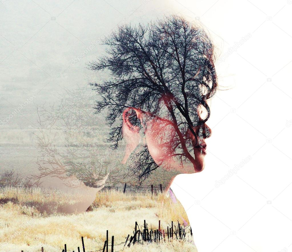 Double exposure with field trees and woman