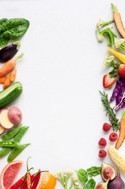 Healthy fresh fruit and vegetables background