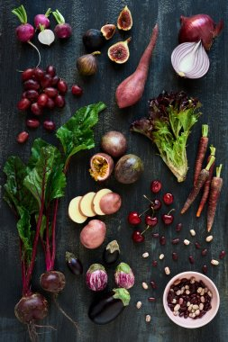 Collection of fresh vegetables and fruits