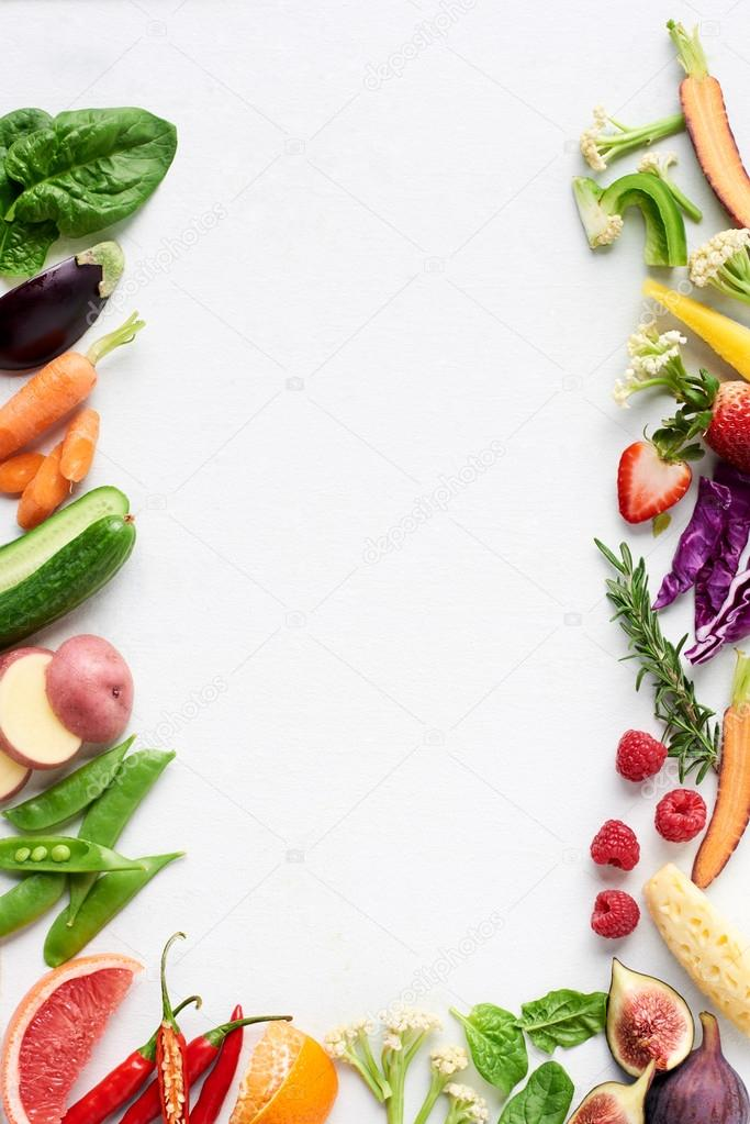 Healthy fresh fruit and vegetables background — Stock ...